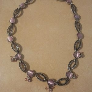 Pink Cats Eye And Marquisite Necklace